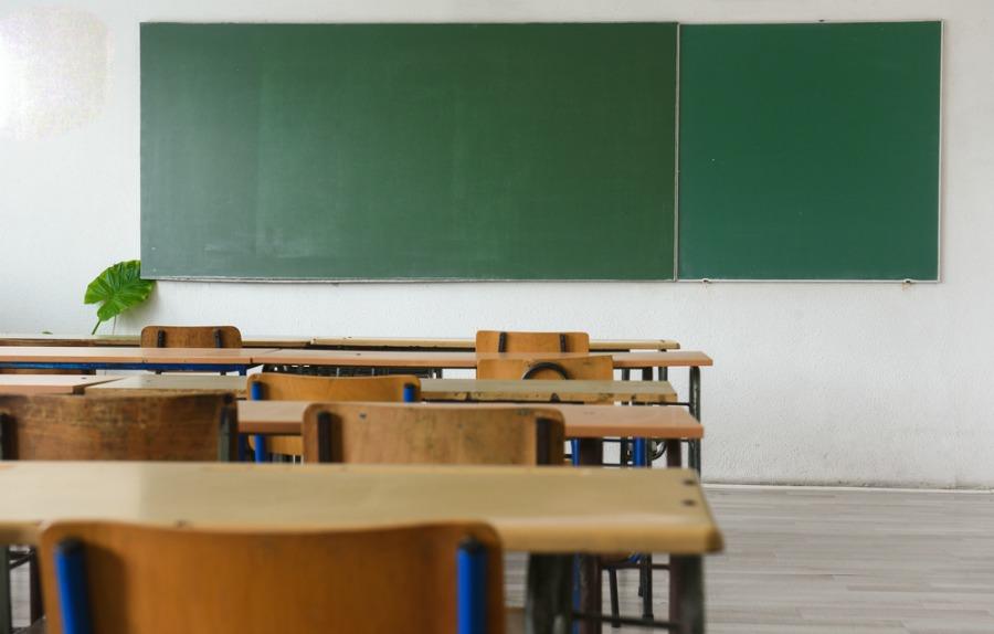 Green Chalkboard in a Clean Classroom