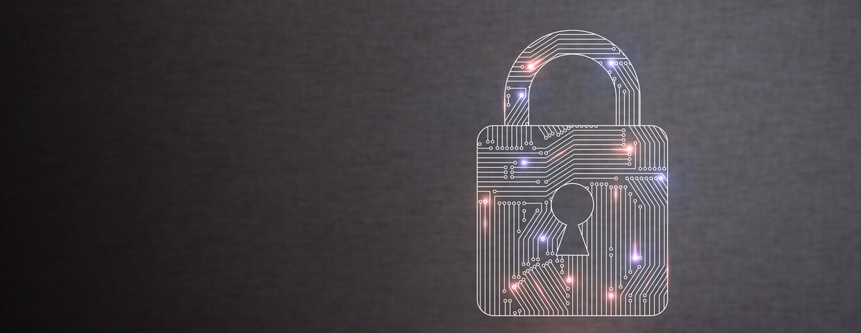 Padlock icon lighting up red and blue throughout image