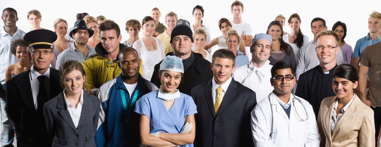 Group photo including doctors, pilots, teachers, chefs, clergy, business men and women.